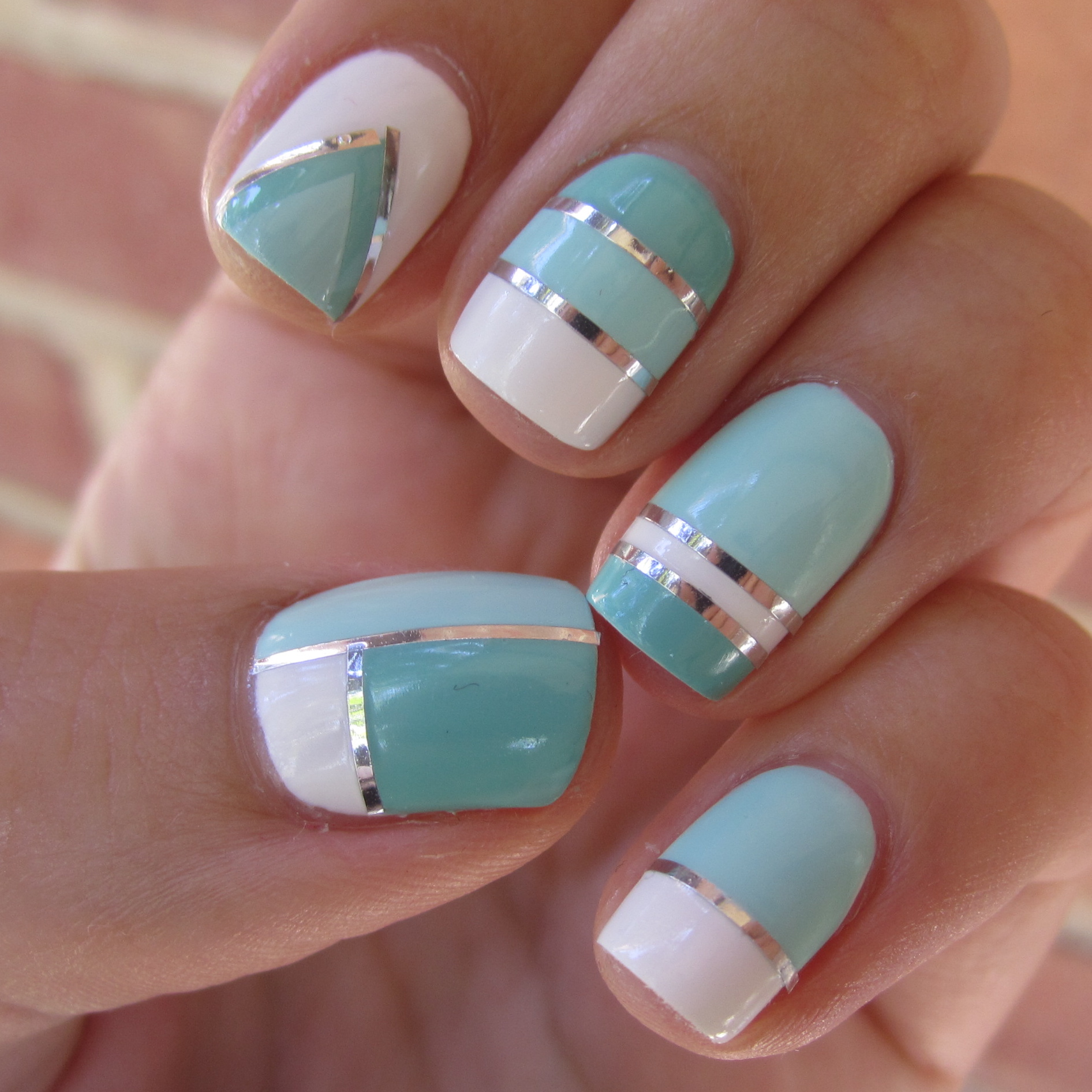 Blue White and Silver Nail Art