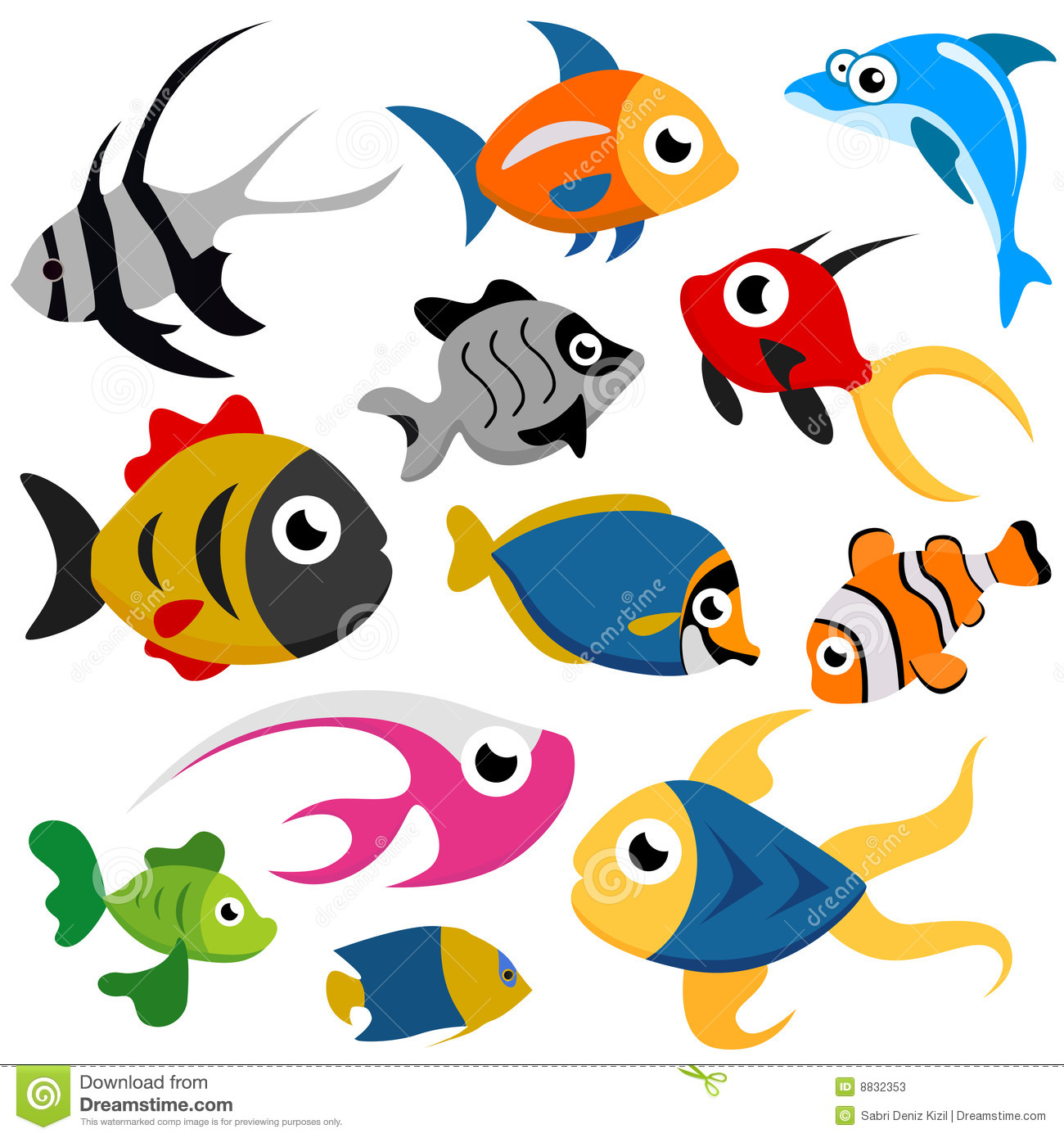 Cartoon Fish School