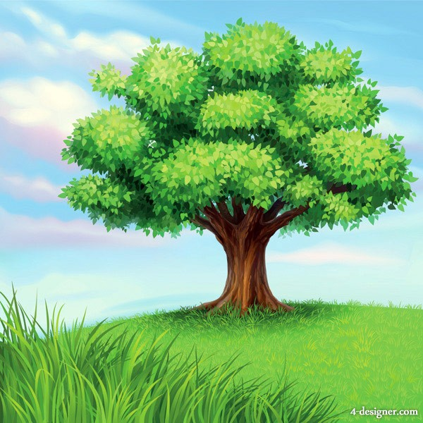 Cartoon Tree with Grass