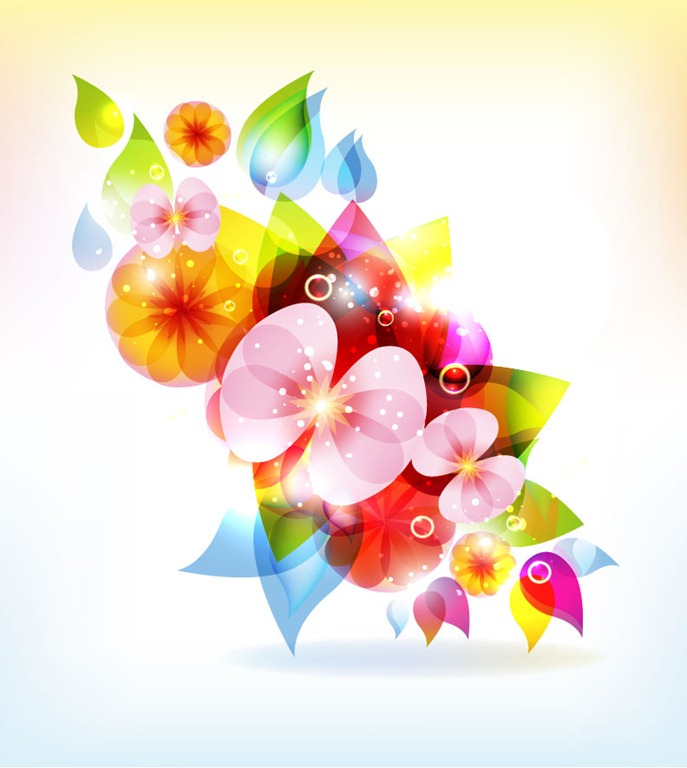 Colorful Abstract Flowers Vector
