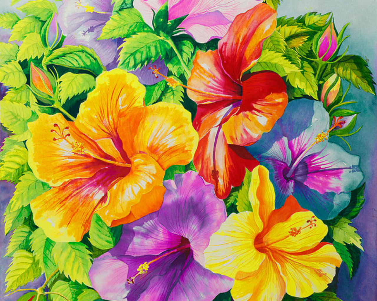 Colorful Bright Abstract Flowers