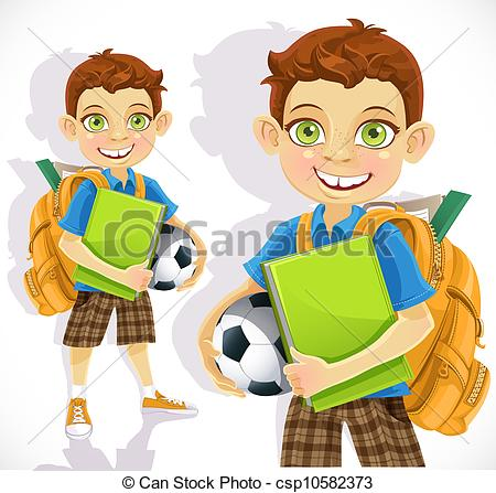 Cute Student with Backpack Clip Art