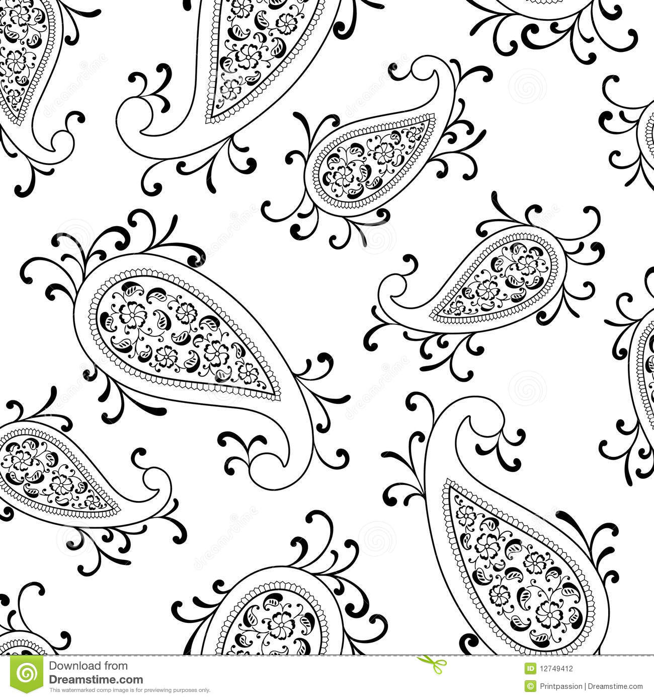 Floral Paisley Swirl Vector