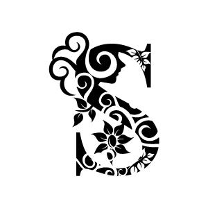 Flower Alphabet Clip Art Black and White