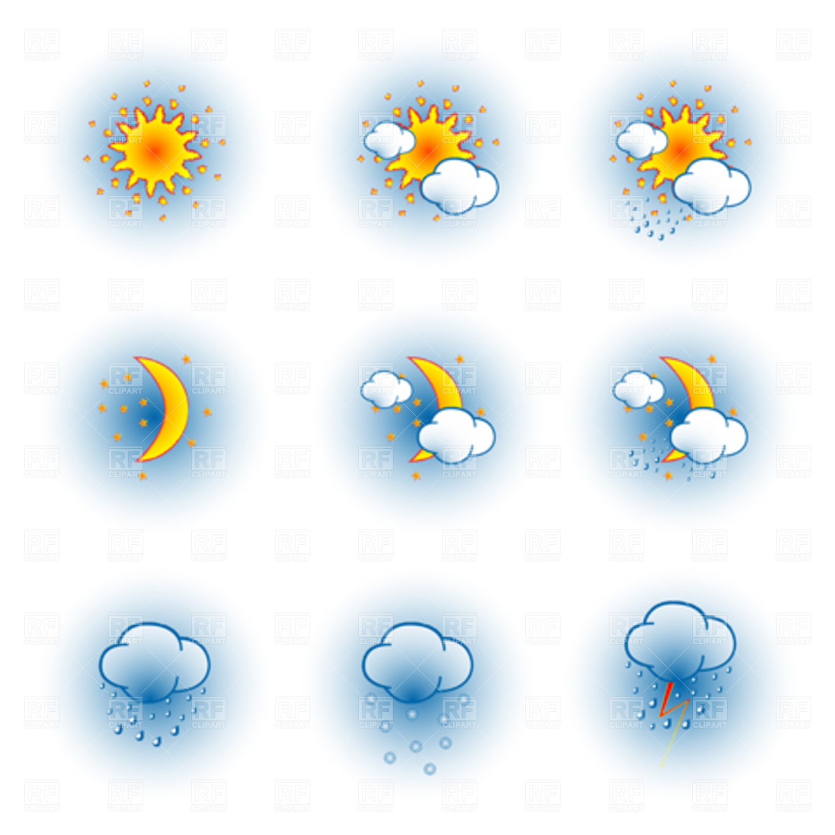 Free Clip Art Weather Forecast Icons