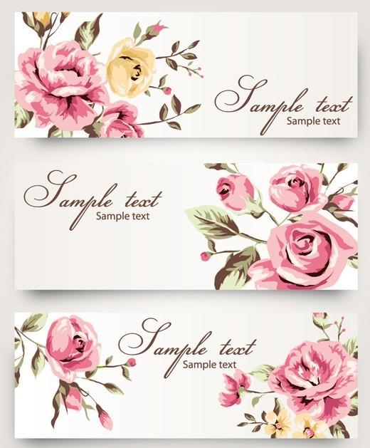 15 Roses Vintage Vector Banner Images