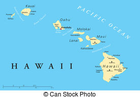 Hawaiian Island Map Illustration