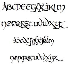 8 Middle Earth Font Alphabet Images