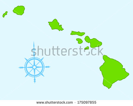 Map of Hawaiian Islands Vector