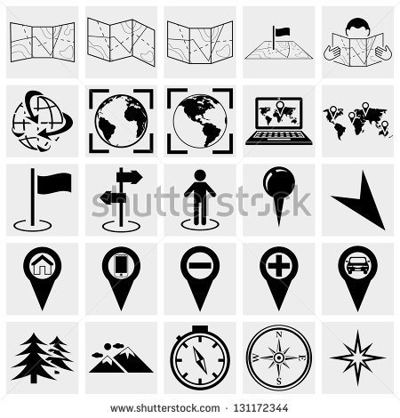 Map of Location Icons Vector Images