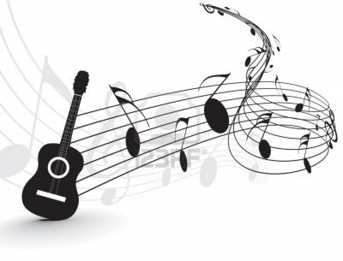 Music Notes and Guitar