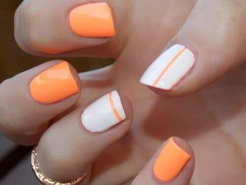 10 Orange And White Nail Designs Images