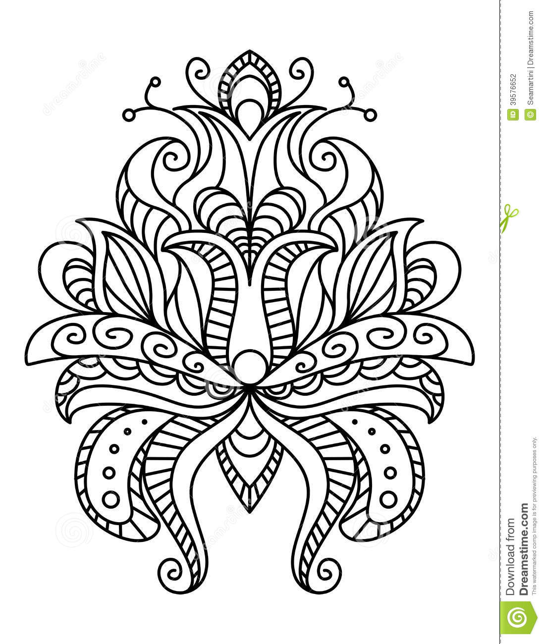 Paisley Floral Line Drawings