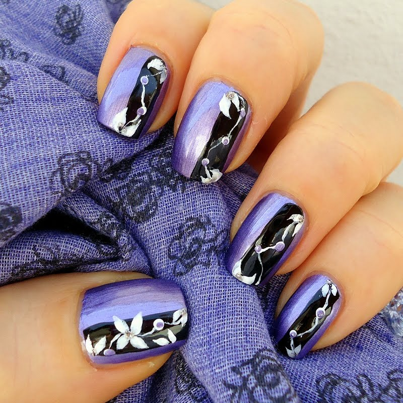 Purple and Black Nail Art Design