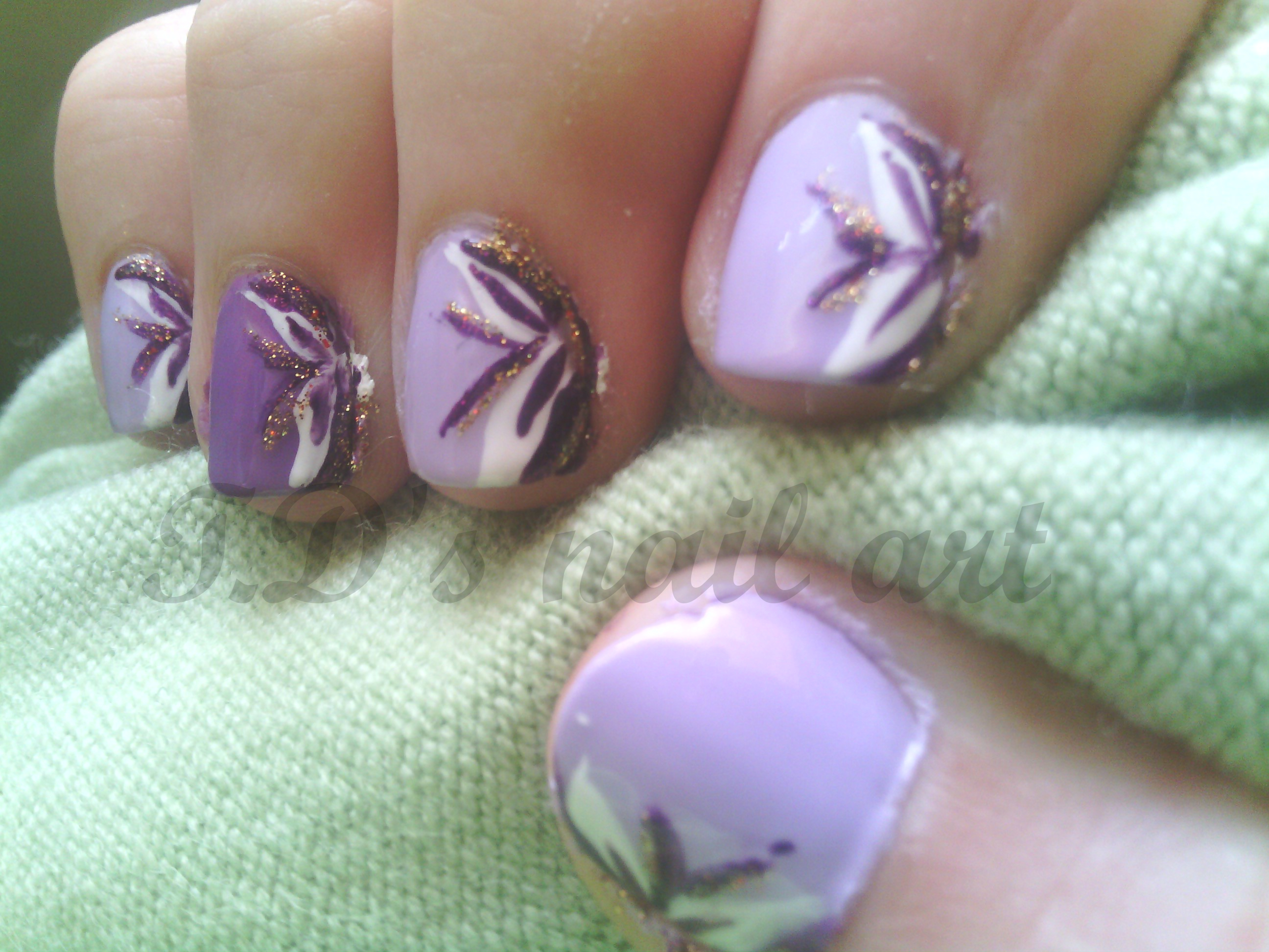 Purple and White Flower Nail Designs