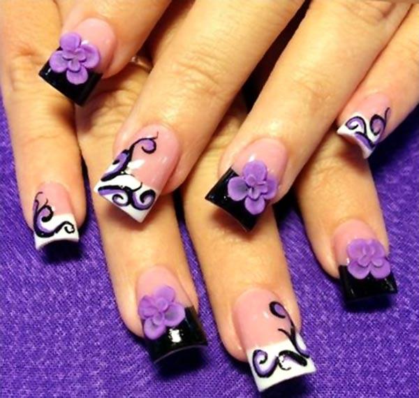 Purple Black and White Nail Art