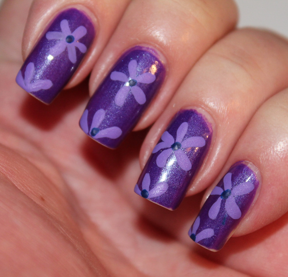 Purple Flower with Nail Art Design