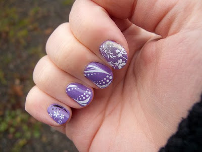 Purple Short Nail Art Design