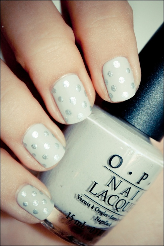 Silver with White Polka Dots