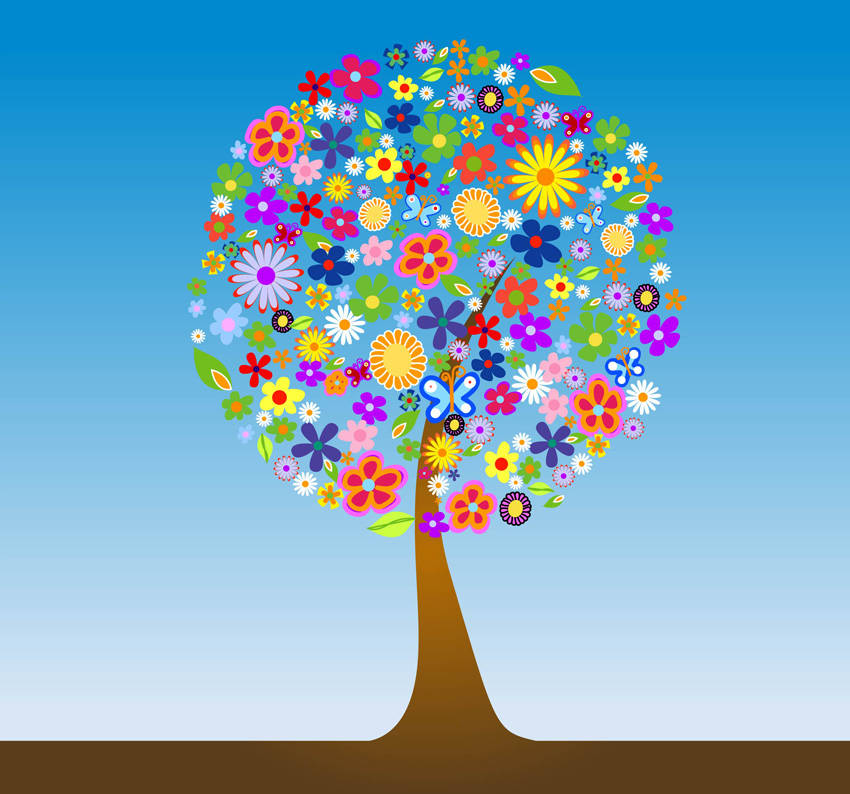 Trees and Flowers Clip Art