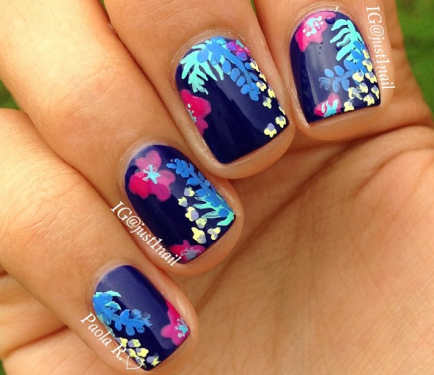 Tropical Flower Nail Art Tutorial