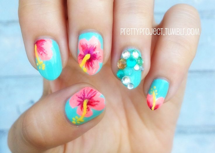 7 Tropical Flower Nail Designs Images