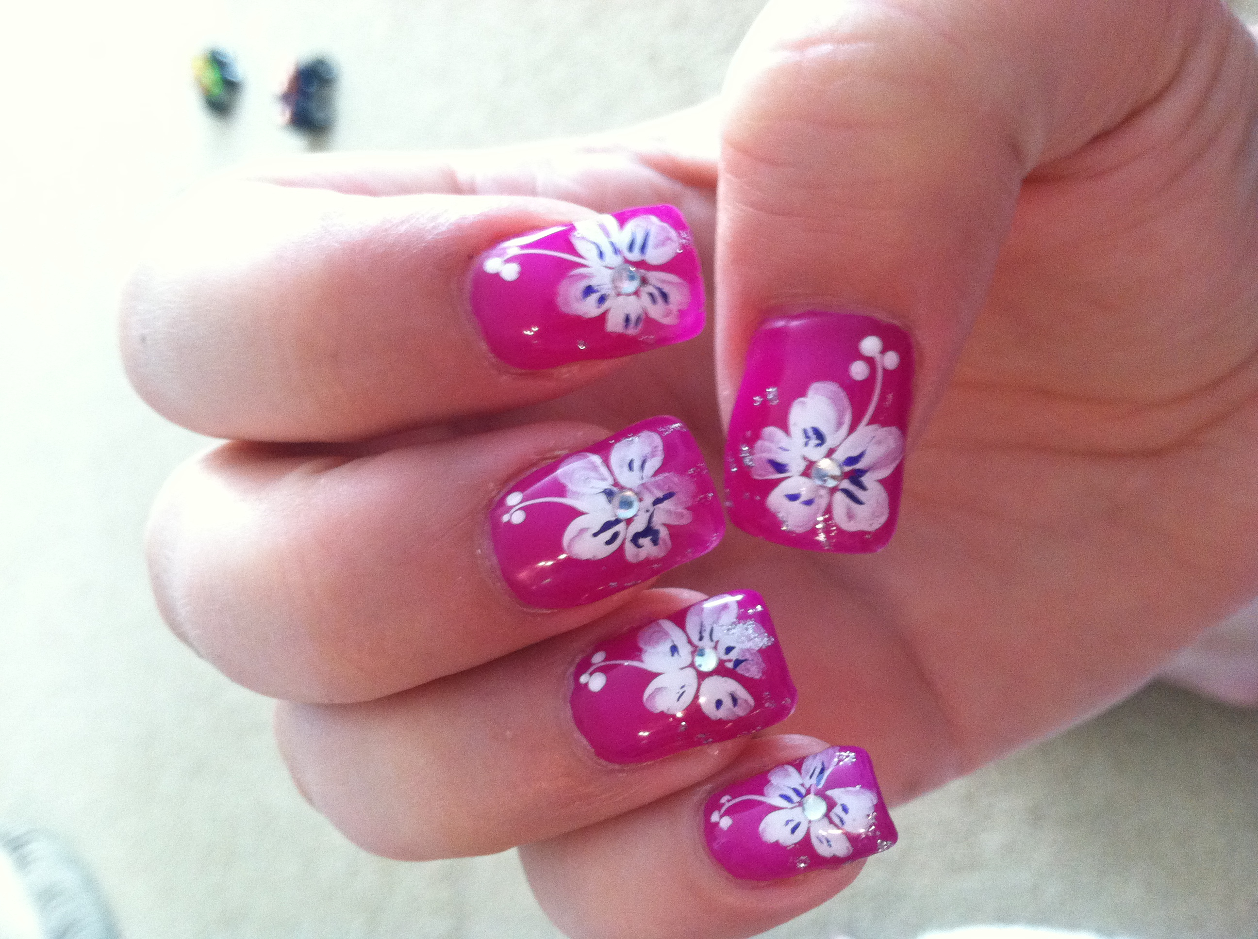 7 Tropical Flower Nail Designs Images - Tropical Flower ...