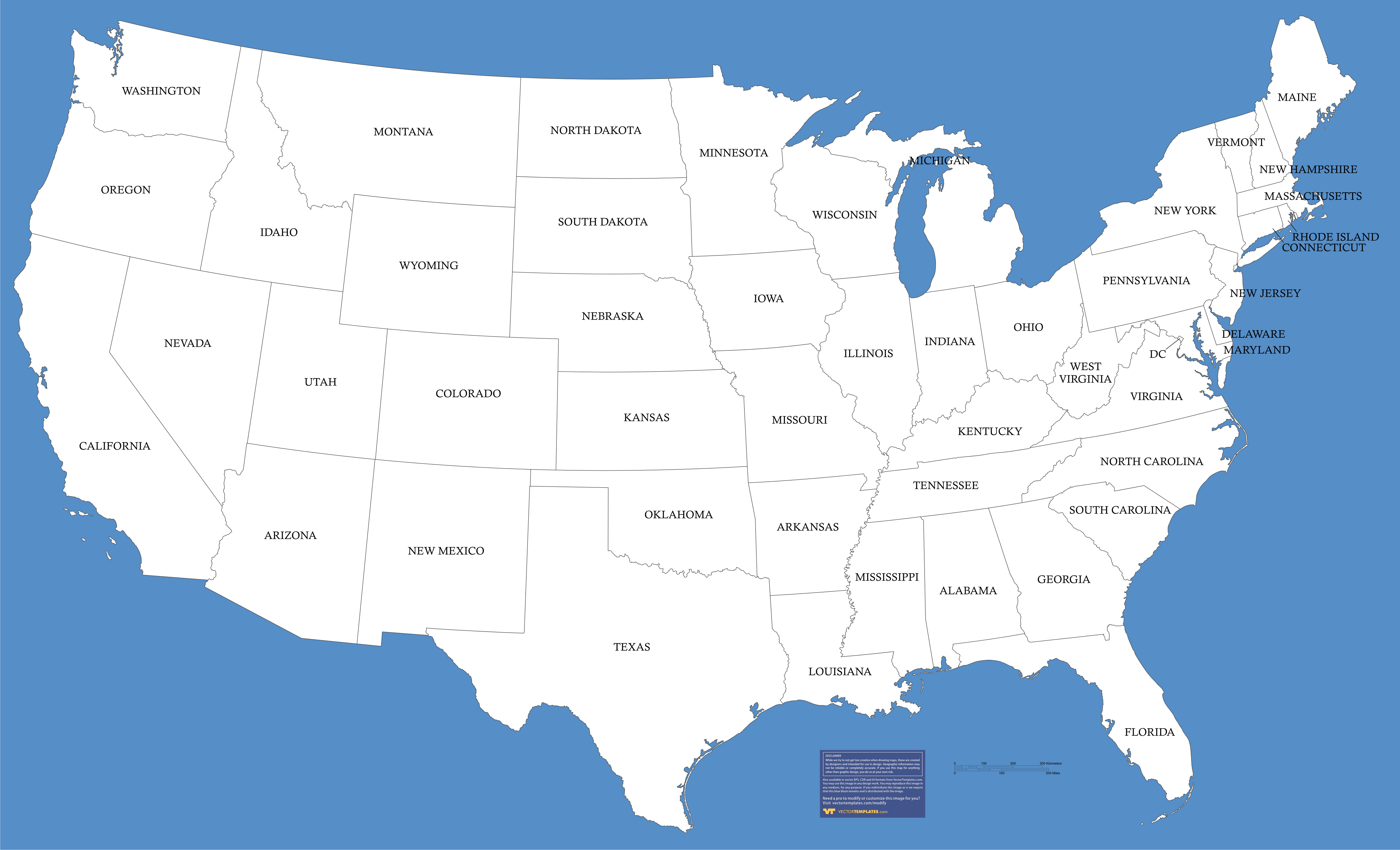 18 Large USA Map Vector Free Images - United States Map ...