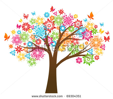 Vector Graphic Tree with Flowers