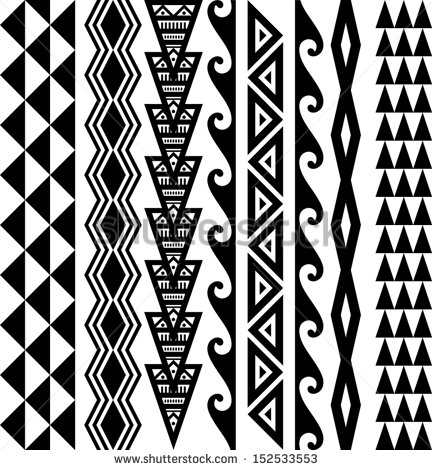 12 Polynesian Tribal Designs Vector Images