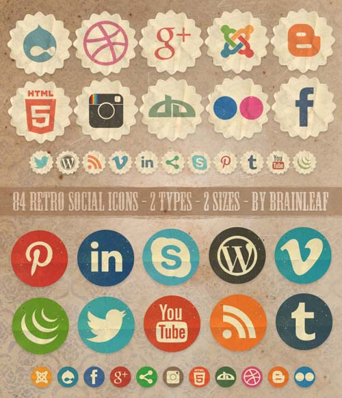 14 Retro Social Media Icons Images