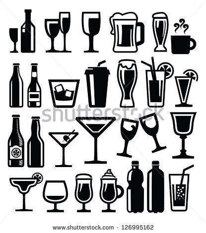 Alcohol Black and White Vector
