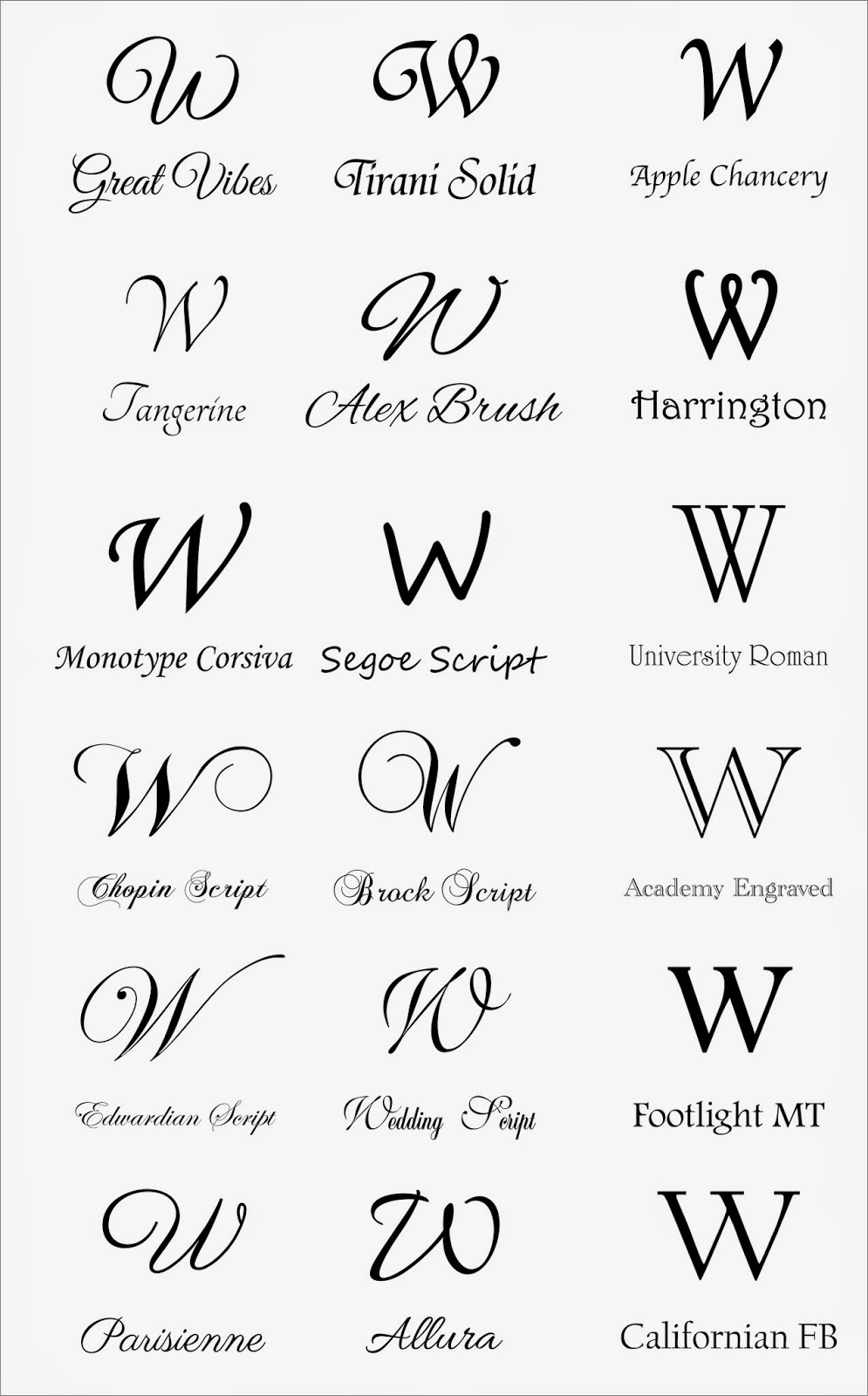 Letter W Fonts