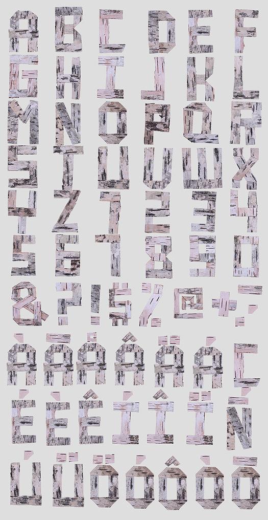 16 Birch Log Font Images