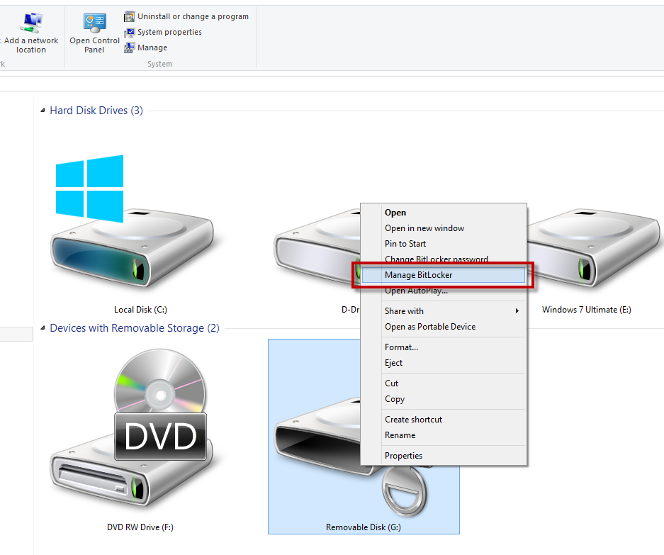 BitLocker Drive Encryption Windows 8