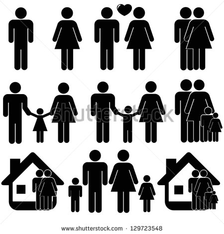 Black and White People Family