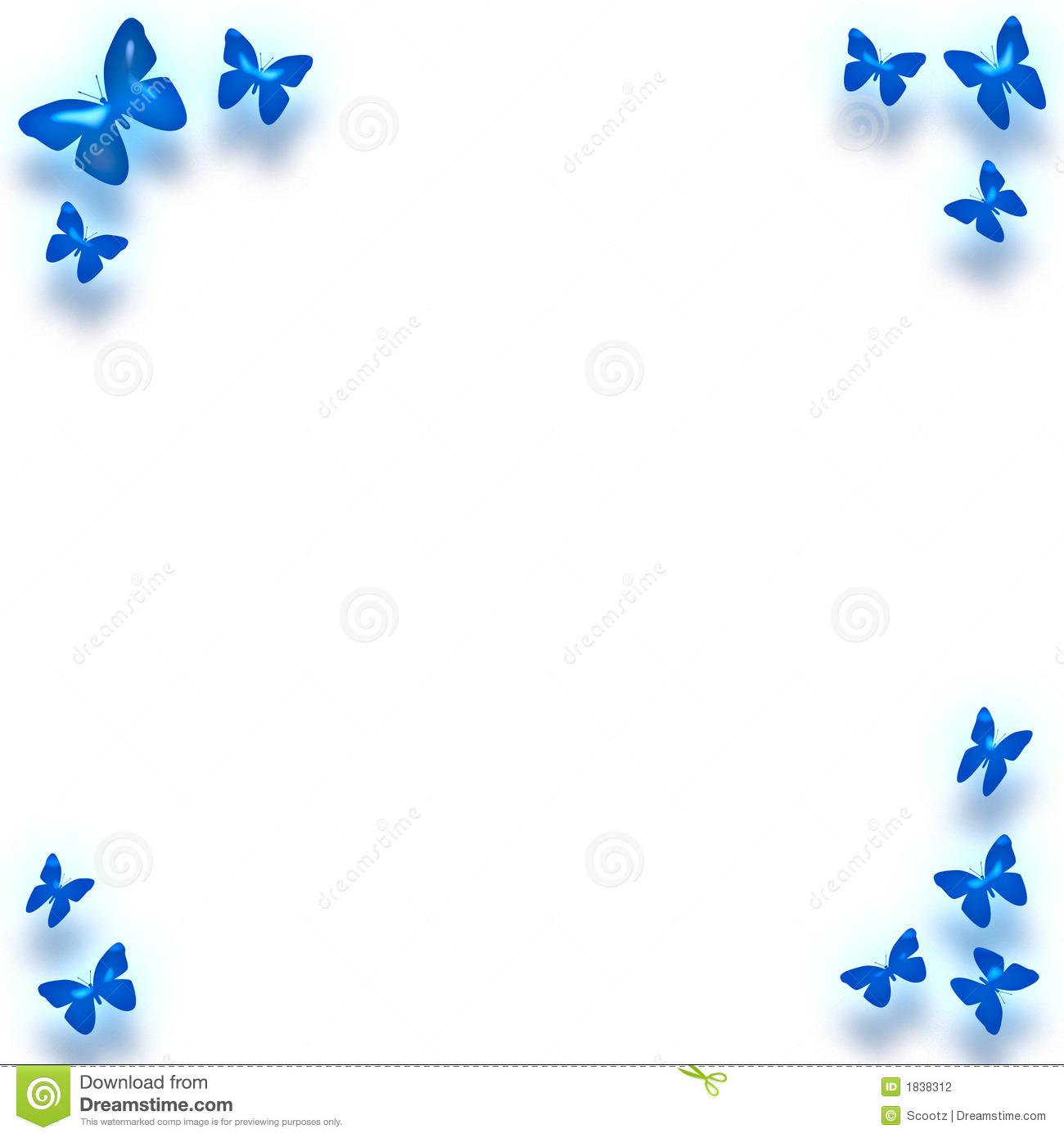 Blue Butterfly Border Clip Art