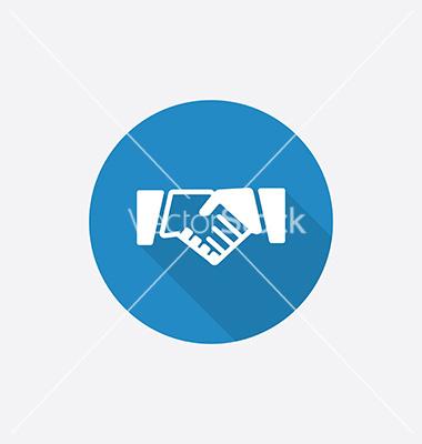 Blue Handshake Icon Flat
