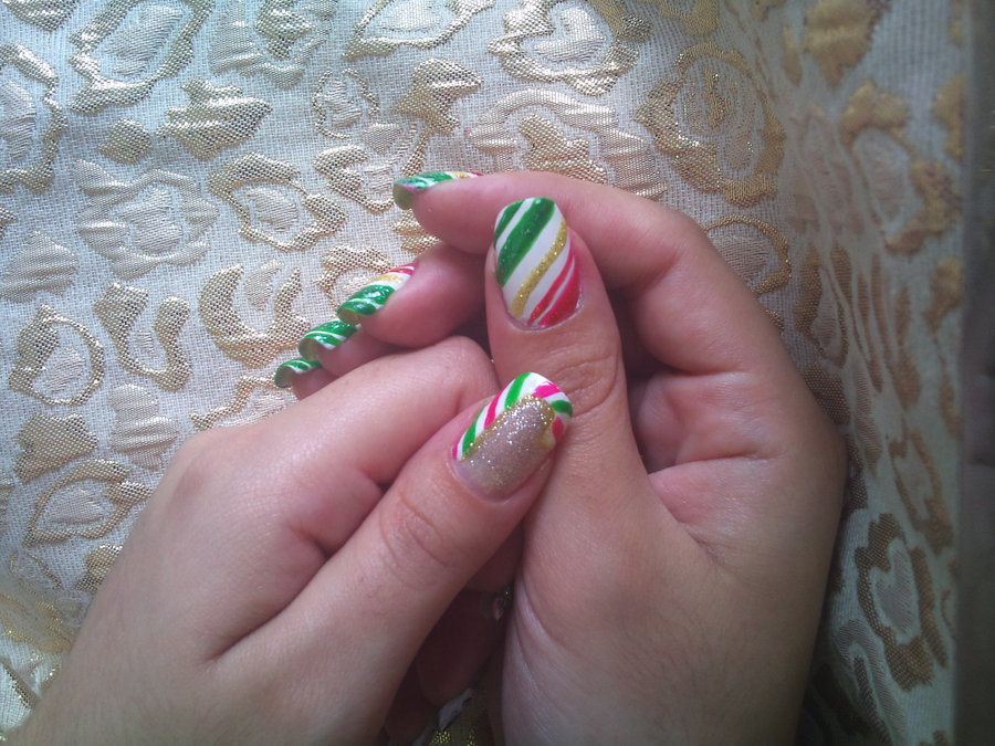 14 Candy Cane Christmas Nail Designs Images Christmas Candy Cane
