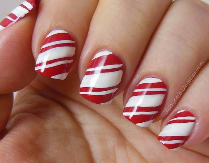 14 Candy Cane Christmas Nail Designs Images