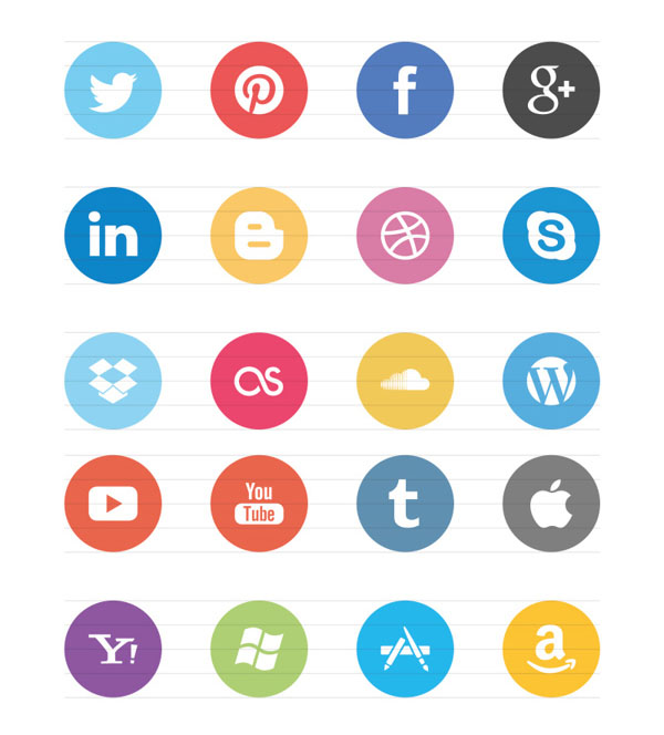 8 Social Media Icons Flat Images