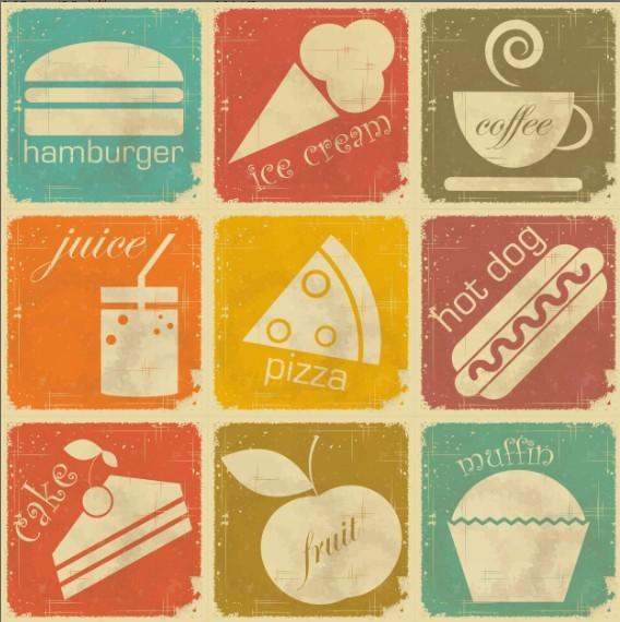 Food Icons Vector Set of Vintage Retro