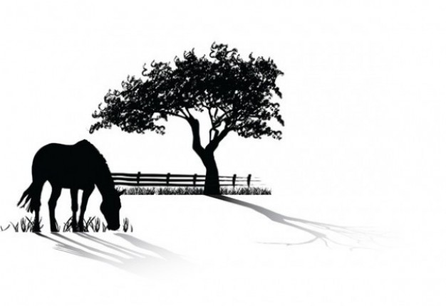 15 Horses Grazing Silhouette Vector Free Images