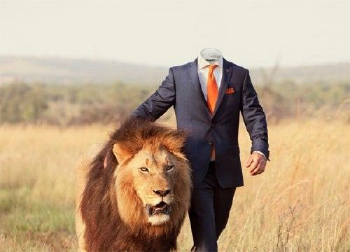 Lion with Man in Suit
