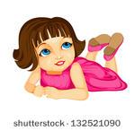 Little Cartoon Girl Laying Down