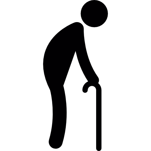 Old Man Walking with Crutches