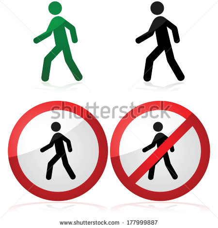 People Icon Walking Sign
