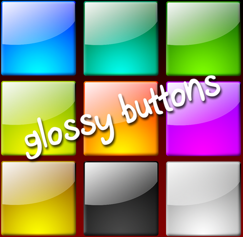Square Glossy Button Photoshop
