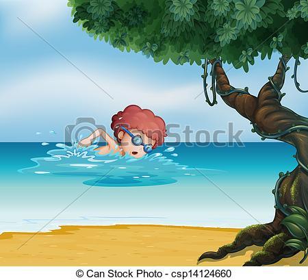 Swimming at Beach Clip Art