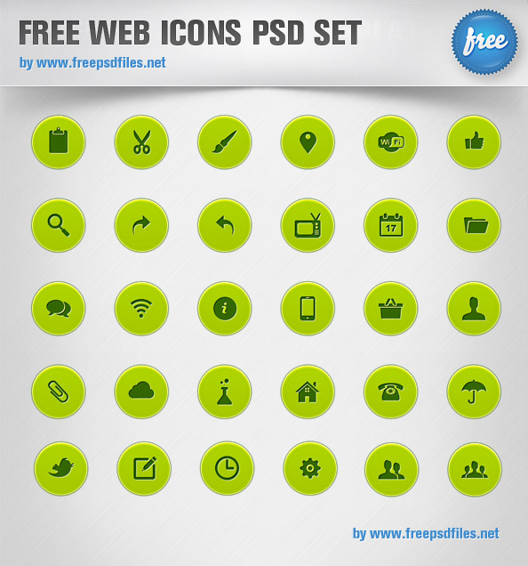 16 Web Icons PSD Images
